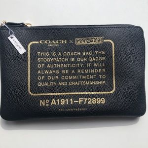 COACH PAC-MAN Story Badge Black Leather Clutch